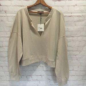 NWT Missguided tan cropped split v-neck sweatshirt
